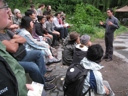 Andrew faust teaching permaculture workshop in Brooklyn New York - Click to learn more about Andrew Faust